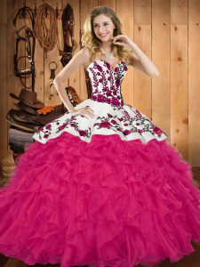 Modest Hot Pink Lace Up Vestidos de Quinceanera Embroidery and Ruffles Sleeveless Floor Length