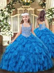 Baby Blue Tulle Lace Up Straps Sleeveless Floor Length Evening Gowns Beading and Ruffles
