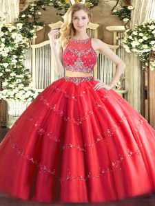 Popular Red Tulle Zipper Scoop Sleeveless Floor Length 15th Birthday Dress Beading