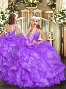 Lavender Ball Gowns Beading and Ruffles Pageant Dress Toddler Lace Up Organza Sleeveless Floor Length