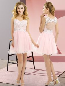 Baby Pink Empire Tulle V-neck Sleeveless Beading and Lace Mini Length Lace Up Dama Dress for Quinceanera