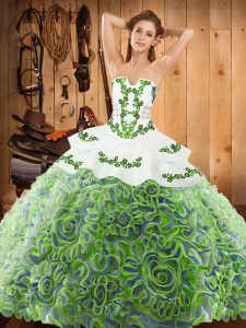 Discount Satin and Fabric With Rolling Flowers Strapless Sleeveless Sweep Train Lace Up Embroidery Quinceanera Dress in Multi-color