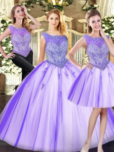 Glittering Scoop Sleeveless Zipper Sweet 16 Dresses Lavender Tulle