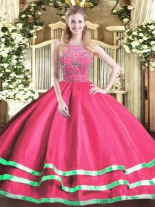 Designer Halter Top Sleeveless Zipper Quince Ball Gowns Hot Pink Tulle