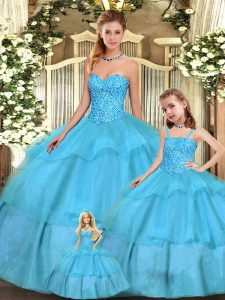 Nice Organza Sleeveless Floor Length Vestidos de Quinceanera and Beading and Ruffled Layers