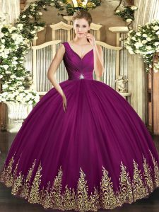 Fuchsia Ball Gowns Tulle V-neck Sleeveless Beading and Appliques and Ruching Floor Length Backless 15 Quinceanera Dress