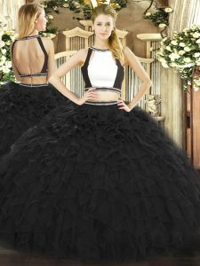 Popular Halter Top Sleeveless Backless Ball Gown Prom Dress Black Tulle