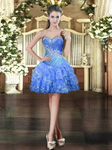 Beading and Ruffled Layers Prom Gown Baby Blue Lace Up Sleeveless Mini Length