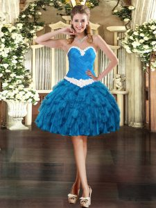 Mini Length Blue Dress for Prom Sweetheart Sleeveless Lace Up