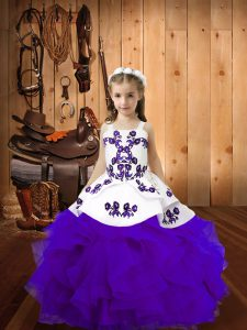 Organza Straps Sleeveless Lace Up Embroidery and Ruffles Little Girl Pageant Gowns in Eggplant Purple