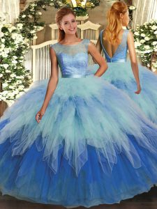 Charming Multi-color Scoop Backless Beading and Ruffles Quinceanera Gown Sleeveless
