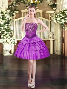 Purple Ball Gowns Organza Strapless Sleeveless Beading Mini Length Lace Up Prom Evening Gown