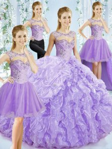 Pretty Sleeveless Beading and Ruffled Layers Lace Up Sweet 16 Quinceanera Dress with Lavender Brush Train