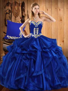 Extravagant Royal Blue Sleeveless Organza Lace Up 15th Birthday Dress for Military Ball and Sweet 16 and Quinceanera