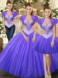 Noble Ball Gowns Quinceanera Dress Fuchsia Straps Tulle Sleeveless Floor Length Lace Up