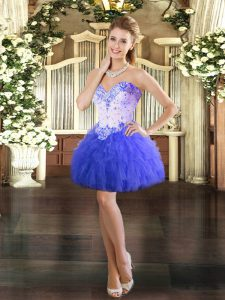 Low Price Blue Sweetheart Lace Up Beading and Ruffles Prom Dress Sleeveless