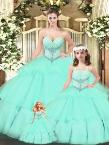 Hot Sale Aqua Blue Quinceanera Dress Military Ball and Sweet 16 and Quinceanera with Beading and Ruching Sweetheart Sleeveless Lace Up