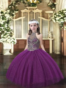 Fashion Dark Purple Tulle Lace Up Halter Top Sleeveless Floor Length Pageant Dresses Beading