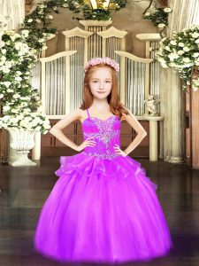 Top Selling Sleeveless Organza Floor Length Lace Up Pageant Dress in Lilac with Beading