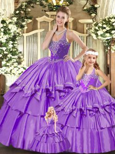 Sleeveless Floor Length Beading and Ruffled Layers Lace Up 15th Birthday Dress with Lilac
