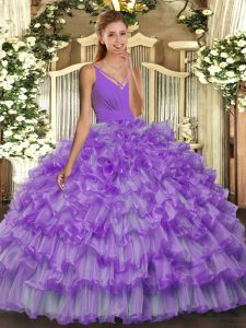 Customized Floor Length Lavender Sweet 16 Dress V-neck Sleeveless Backless