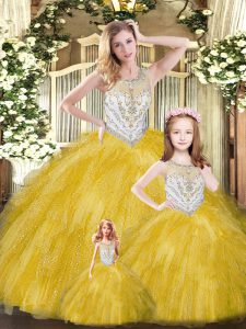 Customized Gold Sleeveless Tulle Lace Up Quinceanera Dress for Military Ball and Sweet 16 and Quinceanera