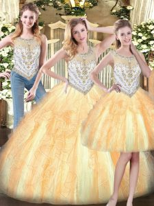 Fine Beading and Ruffles 15th Birthday Dress Gold Zipper Sleeveless Floor Length