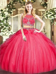 Admirable Red Quince Ball Gowns Military Ball and Sweet 16 and Quinceanera with Beading and Ruffles Scoop Sleeveless Zipper