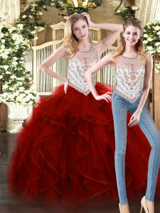 Chic Wine Red Sleeveless Tulle Zipper 15 Quinceanera Dress for Military Ball and Sweet 16 and Quinceanera