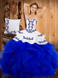 New Arrival Blue Sleeveless Embroidery Floor Length Sweet 16 Dresses