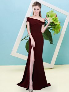 Brown Mermaid Ruching Damas Dress Zipper Elastic Woven Satin Sleeveless Floor Length
