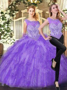 Eggplant Purple Ball Gowns Beading and Ruffles Quinceanera Dresses Zipper Organza Sleeveless Floor Length