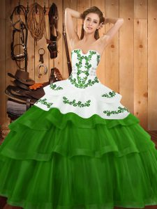 Green Sleeveless Embroidery and Ruffled Layers Lace Up Quince Ball Gowns