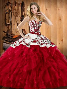 Sophisticated Satin and Organza Sweetheart Sleeveless Lace Up Embroidery and Ruffles Quinceanera Dresses in Wine Red