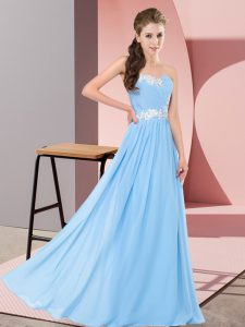 Floor Length Lace Up Prom Party Dress Aqua Blue for Prom and Party with Appliques