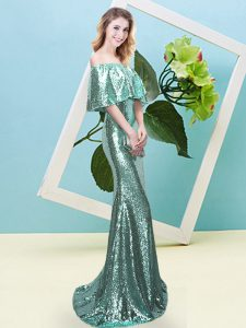 Dazzling Off The Shoulder Half Sleeves Sequined Prom Dress Sequins Zipper