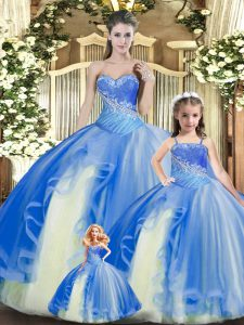 Tulle Sleeveless Floor Length Quince Ball Gowns and Beading and Ruching