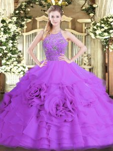 Excellent Eggplant Purple Sleeveless Floor Length Beading and Ruffled Layers Zipper Quinceanera Dress