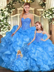 Latest Baby Blue Organza Lace Up Sweetheart Sleeveless Floor Length Quinceanera Dresses Beading and Ruffles