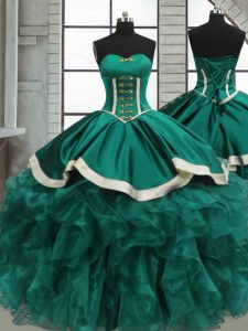 Modern Turquoise Organza Lace Up 15 Quinceanera Dress Sleeveless Floor Length Beading and Ruffles