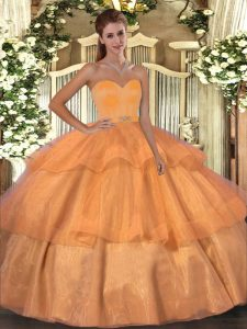Sleeveless Beading and Ruffled Layers Lace Up Sweet 16 Dress