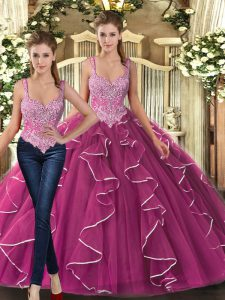 Attractive Sleeveless Beading and Ruffles Lace Up Quinceanera Dresses