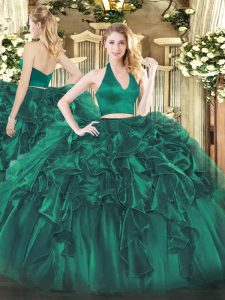 Organza Halter Top Sleeveless Zipper Ruffles Quinceanera Gowns in Dark Green