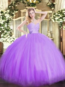 Most Popular Floor Length Ball Gowns Sleeveless Lavender Sweet 16 Dress Lace Up