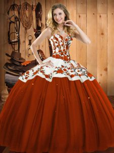 Floor Length Rust Red Quinceanera Dress Satin and Tulle Sleeveless Embroidery