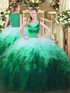 Multi-color Zipper 15 Quinceanera Dress Beading and Ruffles Sleeveless Floor Length