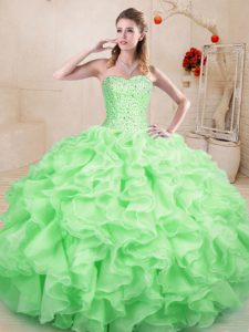 Free and Easy Ball Gowns Quinceanera Dress Apple Green Sweetheart Organza Sleeveless Floor Length Lace Up