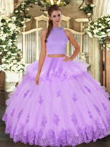 Noble Beading and Appliques and Ruffles Sweet 16 Dresses Lavender Backless Sleeveless Floor Length