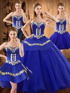 Blue Sweetheart Neckline Embroidery Sweet 16 Dresses Sleeveless Lace Up
