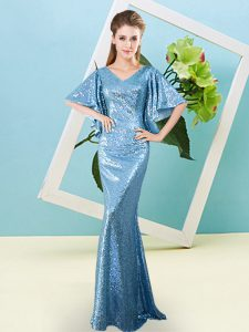Hot Selling Floor Length Baby Blue Prom Gown Sequined Half Sleeves Sequins
